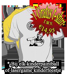 Gratis t-shirt bij kinderpaintball of lasergame kinderfeestje